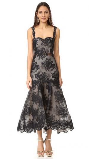 Платье без рукавов Trumpet Monique Lhuillier. Цвет: черный/телесный
