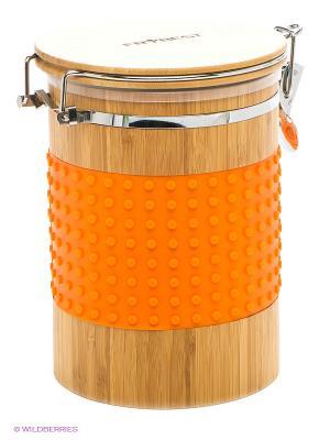 Контейнер бамбуковый большой Frybest. Цвет: оранжевый, бежевый