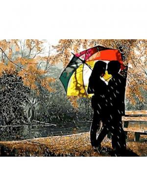 Картины по номерам Под разноцветным зонтом Цветной. Цвет: белый