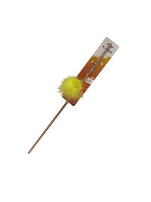 Игрушка для кошки Удочка бамбук меховой мячик 1,5м Zoobaloo. Цвет: желтый