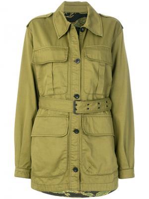 Куртка с поясом в стиле милитари Mih Jeans. Цвет: зелёный