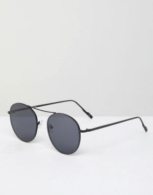 Jeepers Peepers Черные круглые солнцезащитные очки в металлической оправе Peep. Цвет: черный