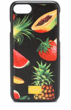 Кожный чехол для iPhone 7 с принтом Dolce & Gabbana. Цвет: черный