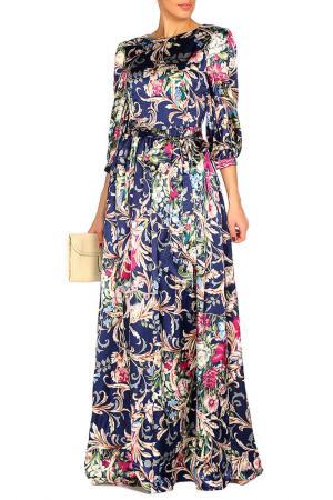 Платье с поясом MARINO MILANO. Цвет: синий