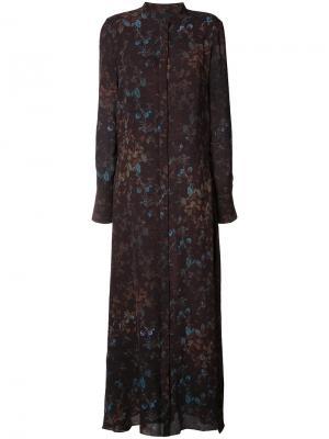 Платье с цветочным принтом Josh Goot. Цвет: коричневый