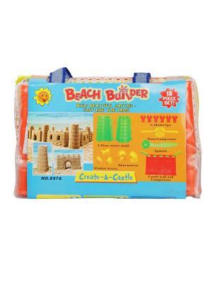 Набор игровой Формы для песка (крепость )с совком BONDIBON. Цвет: лазурный, оранжевый