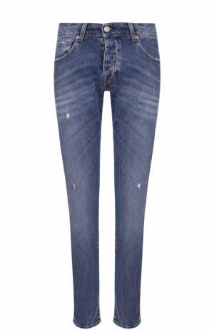 Зауженные джинсы с декоративными потертостями 2 Men Jeans. Цвет: синий
