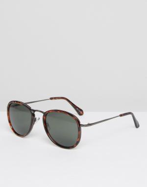 Quay Australia Круглые солнцезащитные очки в коричневой черепаховой оправе. Цвет: коричневый