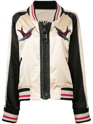Куртка-бомбер с вышивкой Maison Mihara Yasuhiro. Цвет: телесный