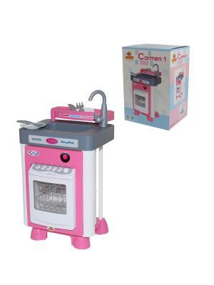 Набор Carmen №1 с посудомоечной машиной (в коробке) Полесье.. Цвет: серый, белый, розовый