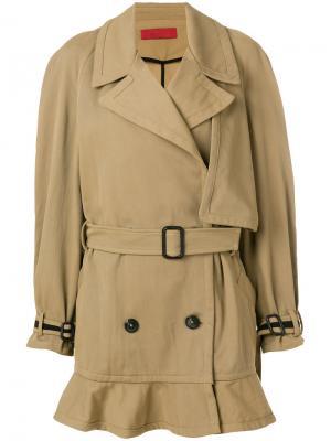 Пальто-тренч с баской Di Liborio. Цвет: коричневый