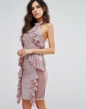 Wow Couture Бандажное платье с оборками и ромбовидным узором на сетчатой вставке W. Цвет: розовый