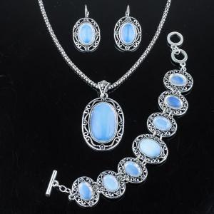 Комплект Аделия лунный камень арт. КМП517 Бусики-Колечки. Цвет: голубой