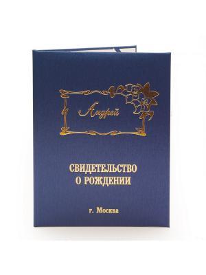 Именная обложка для свидетельства о рождении Андрей г.Москва Dream Service. Цвет: синий