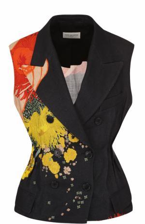 Льняной приталенный жилет с цветочным принтом Dries Van Noten. Цвет: черный