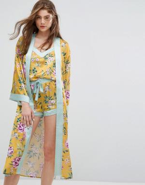 New Look Атласный пижамный халат с цветочным принтом. Цвет: желтый