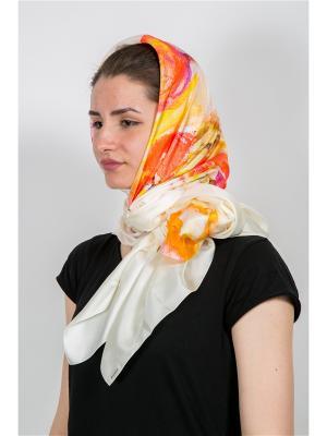 Платок Тюльпаны, 90х90 см ArtNiva. Цвет: красный, оранжевый