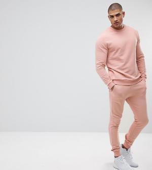 ASOS Розовый спортивный костюм со свитшотом и джоггерами скинни TALL. Цвет: розовый