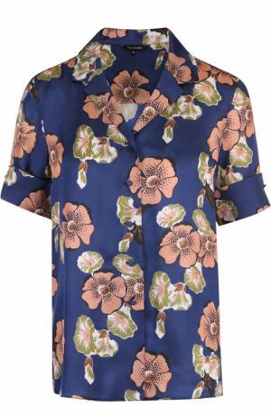 Блуза в пижамном стиле с цветочным принтом Tara Jarmon. Цвет: темно-синий