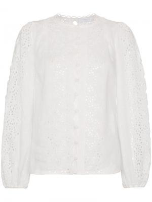 Блузка с длинными рукавами английской вышивкой Zimmermann. Цвет: белый