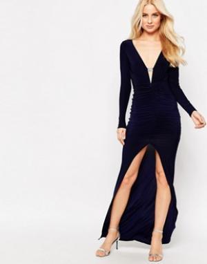 Sistaglam Платье макси со стразами на планке и разрезом спереди Ruthie. Цвет: черный