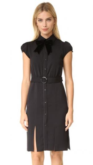 Платье-рубашка Carie с объемными рукавами alice + olivia. Цвет: голубой