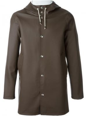 Пальто с капюшоном Stutterheim. Цвет: коричневый