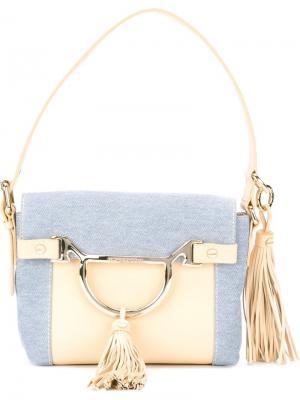 Маленькая сумка с панельным дизайном Borbonese. Цвет: синий