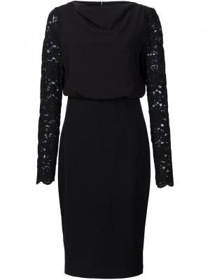Платье с кружевными рукавами Badgley Mischka. Цвет: чёрный