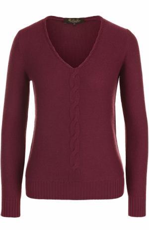 Кашемировый пуловер с V-образным вырезом и фактурной отделкой Loro Piana. Цвет: бордовый
