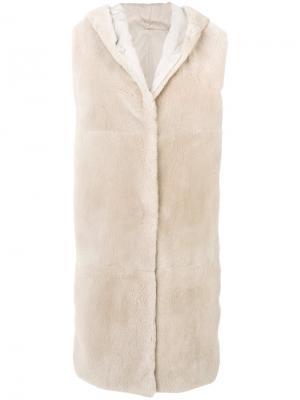 Удлиненный жилет с отделкой мехом Max Mara. Цвет: белый