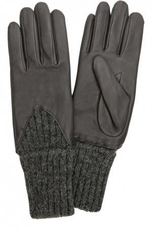 Кожаные перчатки с вязаными манжетами Agnelle. Цвет: темно-серый