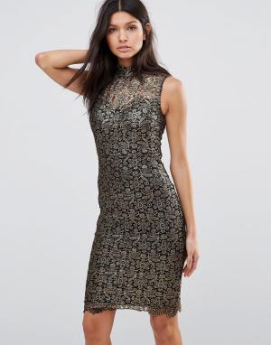 Club L Кружевное жаккардовое платье миди. Цвет: золотой