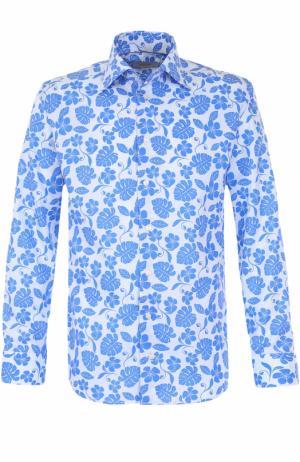 Хлопковая сорочка с принтом Eton. Цвет: голубой