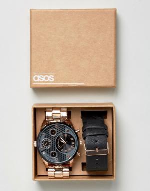 ASOS Наручные часы со сменным ремешком. Цвет: черный
