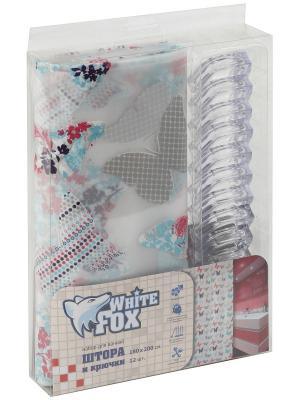 Штора для ванной WHITE FOX. Цвет: темно-фиолетовый, серый меланж, красный