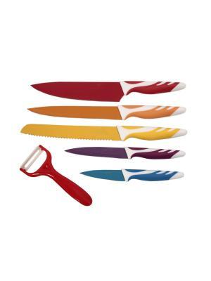 Набор ножей Floret, 6 предметов Elff Ceramics. Цвет: красный, оранжевый, желтый, синий, фиолетовый