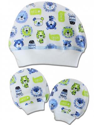 Комплект шапочка и царапки LalaBaby. Цвет: салатовый