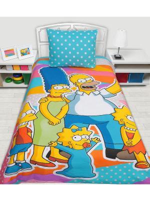 Комплект постельного белья 1,5 сп. Simpsons. Цвет: голубой