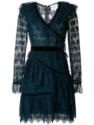 Кружевное платье с бархатной отделкой и оборкой Perseverance London. Цвет: зелёный