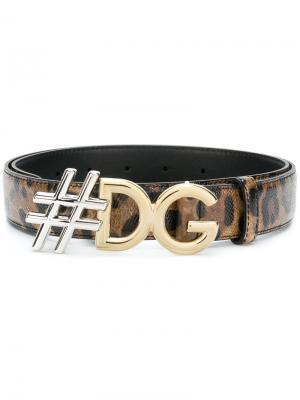 #DG leopard print belt Dolce & Gabbana. Цвет: чёрный