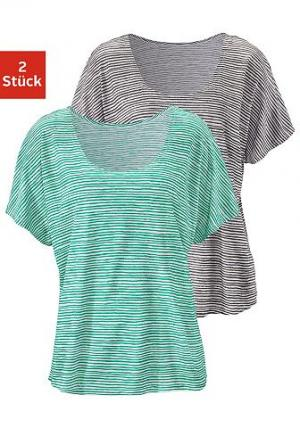 Набор из 2-х футболок Beach Time BEACHTIME. Цвет: зеленый + антрацит в полоску