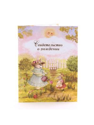 Авторская обложка для свидетельства о рождении Волшебный сад Dream Service. Цвет: бирюзовый, золотистый, розовый