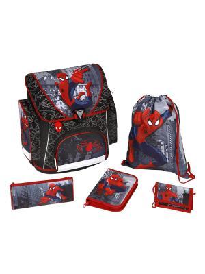 Ранец с наполнением Spider-Man, 5 позиций, 1/3 Scooli. Цвет: красный, серый