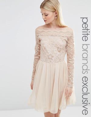 John Zack Petite Платье миди с кружевным лифом и вырезом лодочкой. Цвет: бежевый