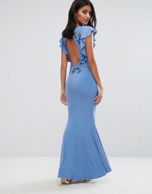 Club L Платье макси с расклешенными рукавами и цветочной вышивкой на спине Cl. Цвет: синий