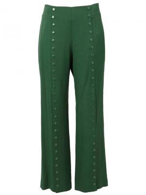 Широкие брюки с заклепками Rosie Assoulin. Цвет: зелёный