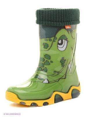 Резиновые сапоги DEMAR. Цвет: зеленый