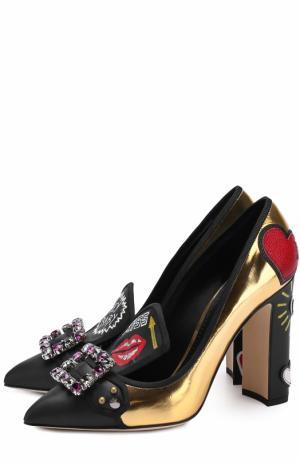 Кожаные туфли Vally с декоративной отделкой Dolce & Gabbana. Цвет: золотой