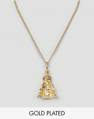 Love Bullets Золотистое ожерелье с подвеской в виде Будды Lovebullets. Цвет: золотой